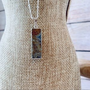 NWT Mexican Agate slice pendant in silver